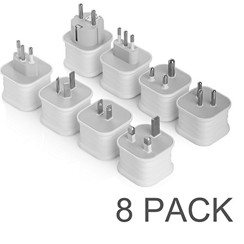 BESTEK Grounded Power Adapter Plug US to UK, France Most Europe, US / Japan, Italy, Australia / China, India, Israel, Brazil Worldwide Travel Converter Adapter Set - 8 - Uk D&g Outlet