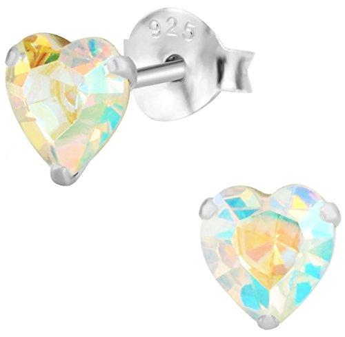 Hypoallergenic Sterling Silver Aurora Borealis Crystal Heart Stud Earrings for Kids (Nickel Free)