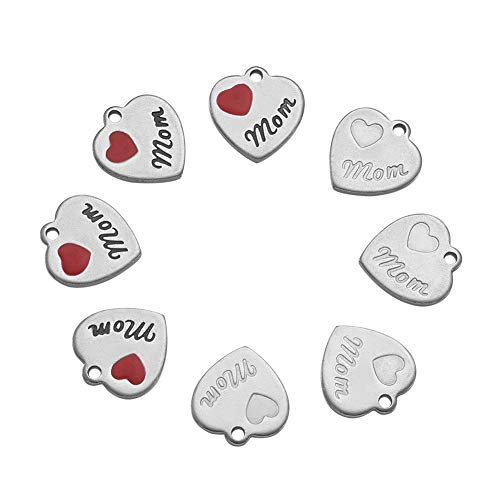 Pandahall 10pcs/2styles 304 Stainless Steel Red Heart Pendants Tiny Dangle Charms Necklace Extender Beads for Mom Jewelry Making Handmade Mother's Gift DIY Bracelets Findings 13x12x1mm - 1 Heart Charm Mom