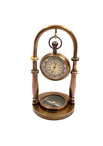 (INDIAN LIGHT-STORE Nautical Brass Hanging Clock with Compass Vintage Reproduction)