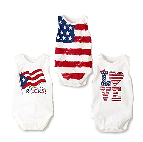 Stylesilove Baby Boy Country Flag Design Cotton Jumpsuit, 3 Styles