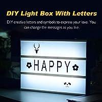 SUNNEST Caja de Luz A4 con 96 Letras y Emojis 80 Tarjetas de Fiestas Cartel Luminoso LED, Ideal para Decoración y Regalo para Niñas, Niños en ...