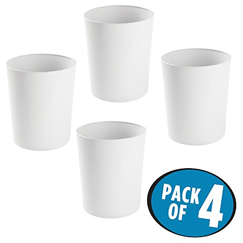 Kids Wastebaskets (mDesign Round Metal Small Trash Can Wastebasket, Garbage Container Bin for Bathrooms, Powder Rooms, Kitchens, Home Offices - Pack of 4, Durable Steel with White Finish)