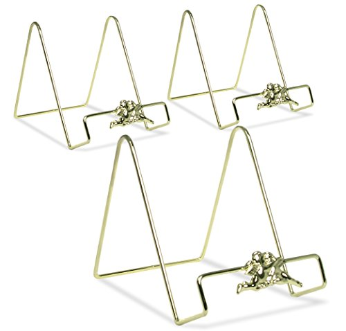 (BANBERRY DESIGNS Angel Easel Plate Display Stand Holders - Smooth Brass Metal with Cherub Angel Figures - 6 Inch - Pack of 3 Pcs)
