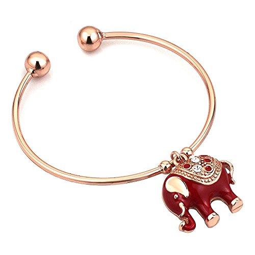 Heart of Charms Bling Cute Elephant Bracelets Cuff Bangle Bracelet for Women Girls - Elephant Red