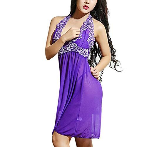 (Women V Neck Lace Patchwork Halter Chemise Mesh Nightwear Plus Size Lingerie Lingerie Set by Lowprofile)