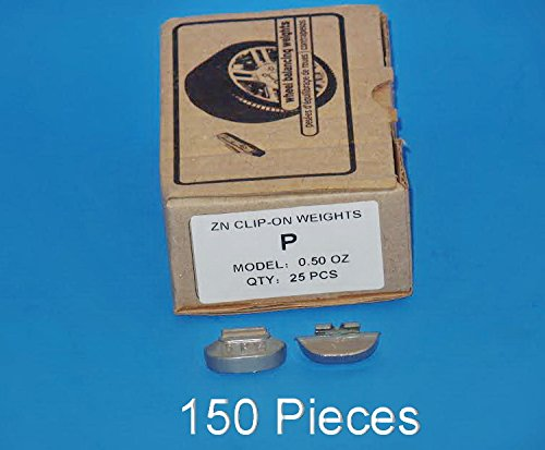 VPro Lot 150 Pcs 0.50 oz 1/2 oz P Style Steel Wheel Weight, Clip on Balancing (for Use On All Steel Wheels of Passenger Cars & Light Trucks) ()
