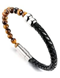 """Halukakah """"SALUTE THE EARTH"""" Men's Genuine Leather Bracelet with Natural Tiger Eye/Obisidian/Agate Stone Beads 8.46""""(21.5cm) with FREE Giftbox"""