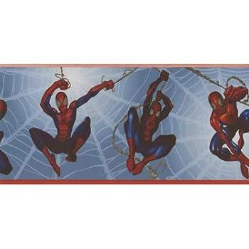 Spiderman Wallpaper Border - Marvel Comics Blue Prepasted