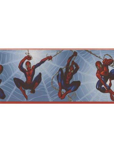 spiderman-wallpaper-border-marvel-comics-blue-prepasted-wall-border