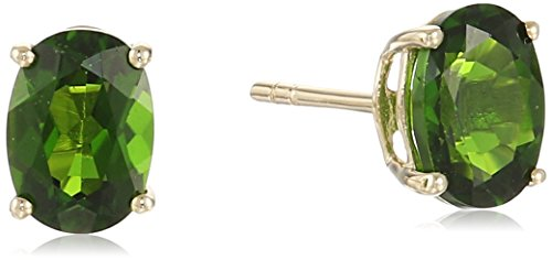 (10k Yellow Gold Chrome Diopside Oval Stud)