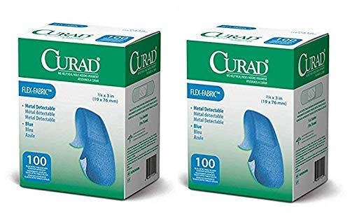 Curad Woven Blue Detectable Bandage, 100-Count (Pack of 2) ()