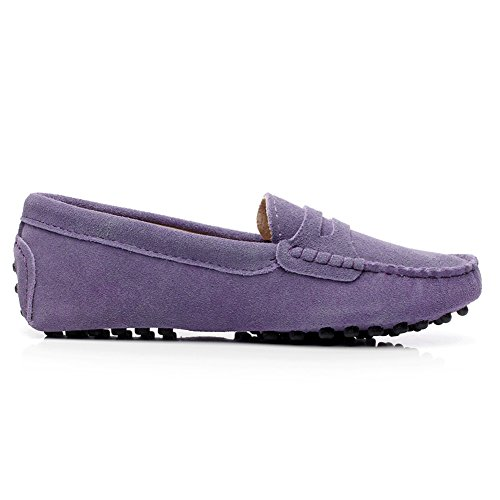 Leather Suede Flat Shoes Women's Comfort Loafers Purple Heel xTUIIgvwn
