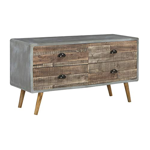Ashley Furniture Signature Design - Camp Ridge 4-Drawer Sofa Table - Natural & Faux Cement Finishes - Antique Copper Metal Pulls