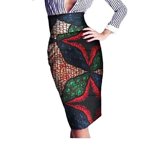 Mfasica Womens Batik High Waist Wrap OL Africa Print Vintage Bodycon Skirt 5 4XL by Mfasica