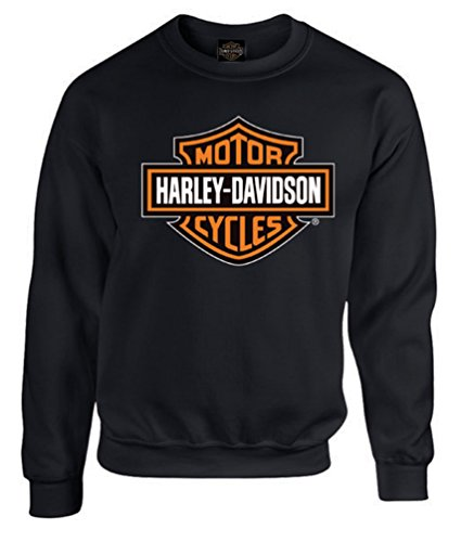 Harley-Davidson Mens Bar & Shield Long Sleeve Crew Neck Fleece Sweatshirt (XL) Black ()