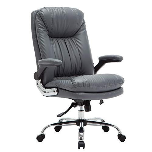 YAMASORO Ergonomic Executive Office Chair - Adjustable Tilt Angle and Flip-up Arms High-Back PU Leather Computer Chair Big for Man and Women ()
