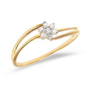 0.14 Carat ctw 10k Gold Round White Diamond Flower Cluster Split Shank Bypass Promise Engagement Ring