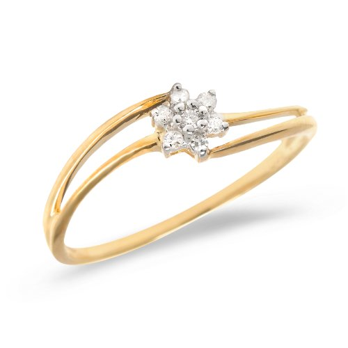 Diamond Flower Stackable Ring - 0.07 Carat (ctw) 14k Yellow Gold Round Diamond Flower Cluster Split Shank Bypass Engagement Promise Ring - Size 7