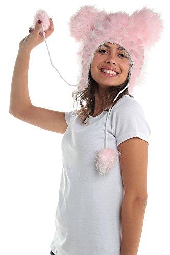 Plush Pink Funky Mouse Faux Fur Animal Miki Hat Hood Winter Ski Snow Warmer Pet Poms