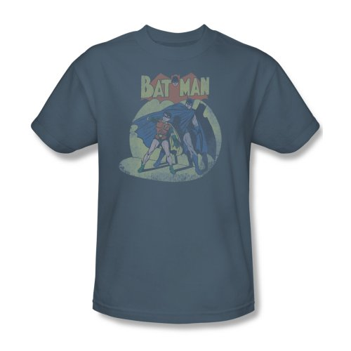 Batman & Robin Spotlight Slate Blue Mens T-Shirt