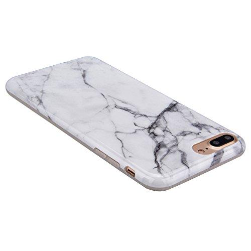 GrandEver iPhone 7 Plus Weiche Silikon Hülle Marmor Handy hülle Weiß Stein Marble Malerei Schlank TPU Bumper HandyTasche Case Muster Flexible Ultra Slim Schutzhülle Zurück Linien Soft Back Cover Silik