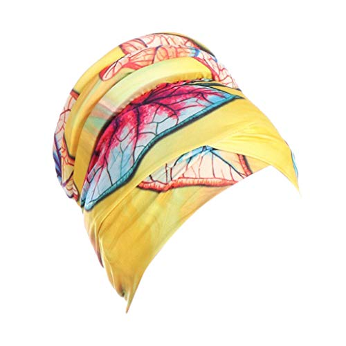 YEZIJIN Women Islamic Muslim Hijab Turban Hat Headwrap Scarf Cover Chemo Cap Newly 2019 New Yellow ()