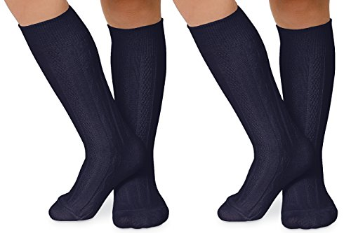 Jefferies Socks Girls School Uniform Cable Knit Dress Knee High Socks 2 Pair Pack (L - USA Shoe 6-9 - 10+ Years, (Cable Knit Kids Shoes)
