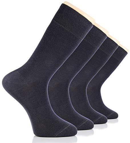 - Hugh Ugoli Men's Bamboo Dress Socks Seamless Toe Business Crew Men Thin Socks, Charcoal Grey, 4 Pairs