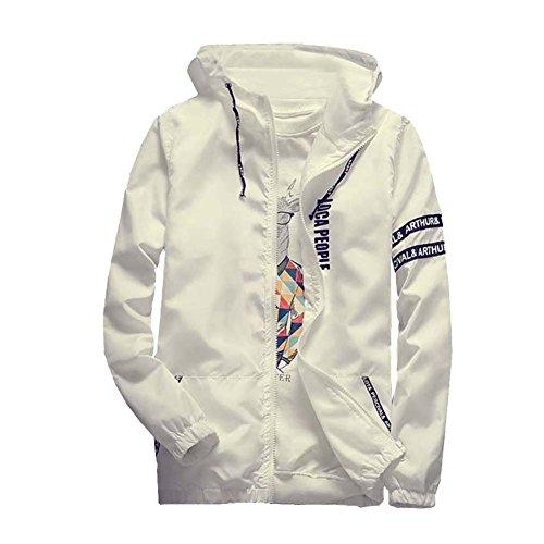 Bianco Con Uomo Giacca Zip Impermeabile Chiusura Cappuccio Casual A C5Uwq8Z5x