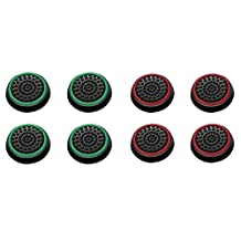 Insten [4 Pair/8 Pcs] Silicone Analog Thumb Grip Stick Cover, Game Remote Joystick Cap for PS4 Dualshock 4/ PS3 Dualshock 3/PS2 Dualshock/Xbox One Wireless/ Xbox 360 Controllers, Black/Green,Black/Red