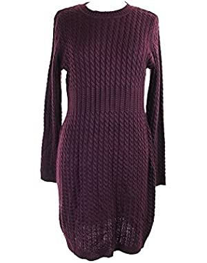 Womens Cable Knit Ribbed Trim Sweaterdress