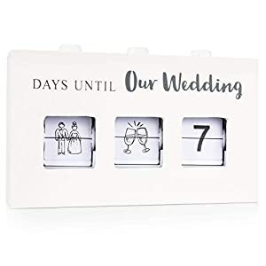 Wood Wedding Countdown Calendar Box: Handmade Wooden Box with 3 Changeable Viewing Windows to Show 0-999 Day Count Down Clock for Days Until I Do and Wedding Icons - Cute Bride to Be Engagement Gifts