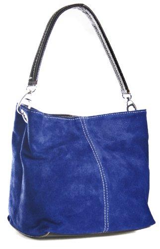 BHBS Bolso Pequeño de Dama tipo Hobo en Piel Gamuzada italiana Auténtica con una sola Asa 28x21x15 cm (LxAxP) Cobalt Azul