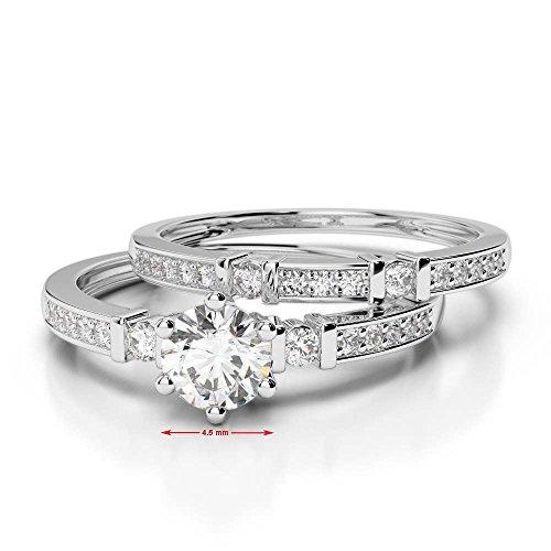 Or jaune 18carats 0,50CT G-H/VS sertie de diamants ronds Cut Saphir et mariée Bague de fiançailles et ensemble de Agdr-1150
