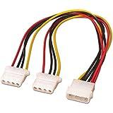 NanoCable 10.19.0401 - Cable alimentación 2xMOLEX macho a 1xMOLEX hembra, 4pin/M-2xMOLEX 4pin/H, 20cm