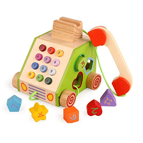 (Lunar Multifunction Wooden Drag Pull Along Telephone Toy Pretend Play Shapes Sorting Cube for Toddlers)