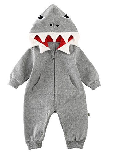 Baby Boys Girls 3D Cartoon Shark Hooded Romper Jumpsuit One-Piece Zipper Climb Clothes Playsuit Size 6-9 Months/Tag 73 (Grey)