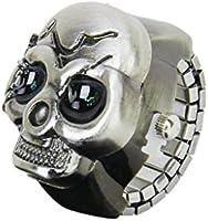 Gleader Bronze Flip-Up Skull Cover Finger Ring Watch Stretchy Watchband for Unisex--Battery Included, Ideal for Skull Lover