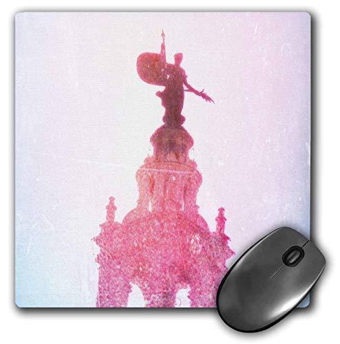 3dRose Cassie Peters Kansas City - Plaza Watch, Statue in Pink Digital Art - MousePad (mp_288452_1) - Kansas Wrist Watch