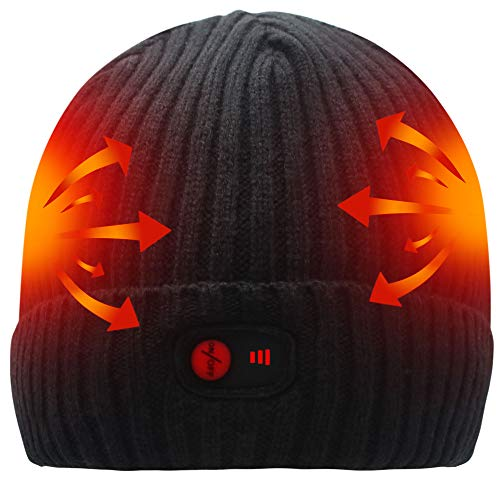 SVPRO Rechargeable Battery Heated Beanie Hat,7.4V Li-ion Battery Warm Winter Heated Cap,Winter Outdoor Activities Works up to 2.5-6H for Men & - Electric Beanie