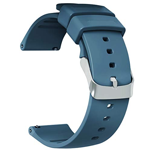 Strap Fossil Silicone Watch (JIELIELE Compatible 22mm Wristbands, Silicone Watch Band Straps Accessory for Samsung Gear S3 Frontier/Classic / Gear 2 / Galaxy Watch 46mm / Fossil Q Wander/Huawei Watch GT (Navy Blue, 22mm))