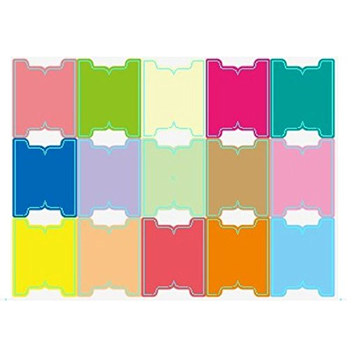 Chris-Wang 5 Sheets Self-Stick Blank Self Adhesive DIY Multi-Color Lable Marker Notes Page Index Tabs Dividers, 15 Tabs per Sheets, Pack of 75 Tabs (XXL)