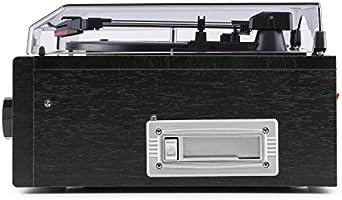Auna Blackwood 2019 Edition Tocadiscos estéreo - Sistema Multimedia, Altavoces, Reproductor de CD y Cassette, Radio, AUX, MP3, USB, FM, Digitalizador, ...