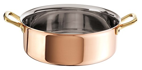 Paderno World Cuisine Copper-Stainless Steel Rondeau Pan, 5 1/4-Quart