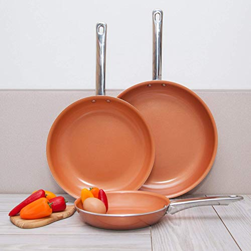 Copper Aluminum Frying Pans - 3 pc Nonstick Fry Pan Set - 8