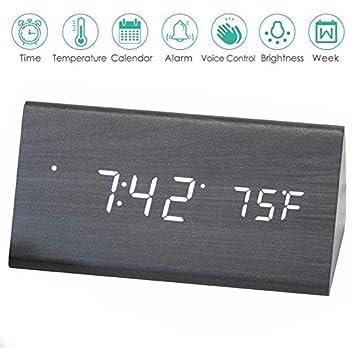 Amazon.com: AZbornaz - Reloj despertador de madera con ...