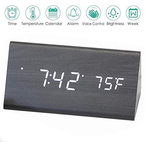 AZbornaz Wood Alarm Clock Block, Wooden LED Digital Electronic Bedside Shelf Desk Display - Wireless Battery Power, USB Charger, Dimmable, Calendar Date, Temperature, Voice Control - Modern Black