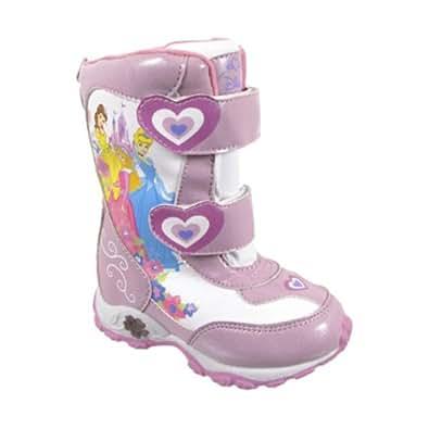 """Disney Princess """"Cinderella, Belle & Aurora"""" Pink Toddler Winter Snow Boots (10)"""
