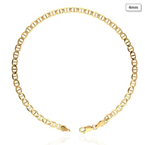 10K Solid Yellow Gold 2mm-6mm Anchor Mariner Link Anklet Bracelet 10